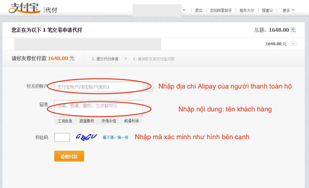 làm sao thanh toán hộ qua Alipay