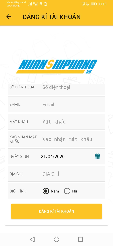 Nhanshiphang đăng kí tài khoản trên ứng dụng đặt hàng Trung Việt